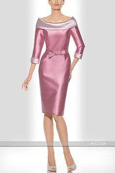 Vestido de madrina corto en raso y bordado artesanal 6167 Teresa Ripoll