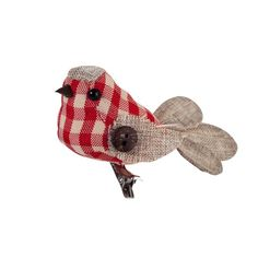 The proceeds from selling these sweet gingham robins go to leukaemia & lymphoma research! Christmas Trends, Christmas Bird, Woodland Christmas, Christmas Photos, Xmas, Festival Decorations, Christmas Decorations, Wreaths And Garlands, Bird Crafts