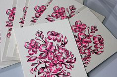 The paper has a yellow/beige tone. Covered in plastic to prevent damage. Height: cm Feel free to contact me if you have any questions. Silk Screen Printing, Pink Flowers, Print Design, Greeting Cards, Design Ideas, Plastic, Neon, Beige, Printed