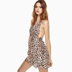 Wild Leopard Print V - neck One - piece Dress With Cross Racerback Decoration