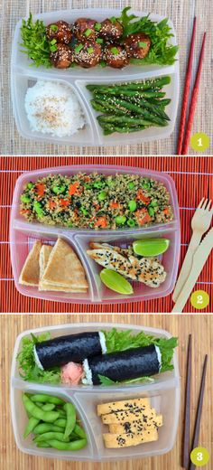 Sweet potato, quinoa and edamame salad with miso dressing  Pan-fried chicken tenderlo ins, scattered with toasted black sesame seeds Pita bread, quartered The linked salad recipe allows for planned-overs, which can be used for rather nice sweet potato, quinoa and salmon cakes.