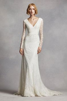 White by Vera Wang Long Sleeve Lace Wedding Dress. So chic for a Fall or Winter wedding especially.