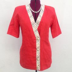 ✂️ Vintage short sleeve linen blazer Absolutely fabulous piece! Amazing vintage find! 100% linen. Beautiful coral/orange-red main color with a unique striped trim and beautiful, ornate buttons. Size 9/10. Made by vintage brand José Alvarez high couture. Vintage Jackets & Coats Blazers