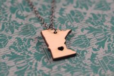 Items similar to Minnesota Wooden Necklace - Bamboo - Minnesota State Necklace Minnesota Necklace Personalized State Necklace USA Map Necklace on Etsy State Necklace, Map Necklace, Wooden Necklace, Love Necklace, Sterling Silver Necklaces, Miss Minnesota, Brainerd Minnesota, Minneapolis Minnesota, Precious Metal Clay