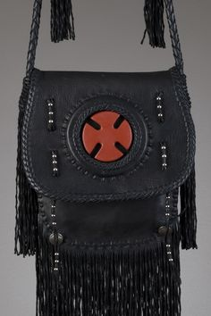 851a7cb75724 Scout Leather Bag - Black with Pipestone Cross - Twisted Fringe Кожаная  Сумка, Клатчи