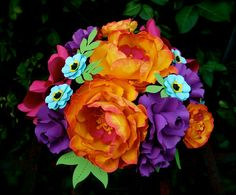 Cake Topper - Centerpiece  - Paper Bouquet -  Handmade Paper Flowers - Made to Order - Customize your style and colors