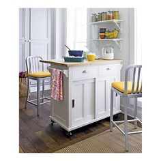 """Belmont White Kitchen Island from Crate and Barrel 44.25""""Wx20.5""""Dx36.5""""H (30.5"""" D with leaf up)"""