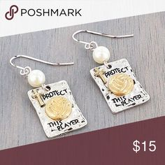 """⚡️🆕 """"Protect This Player"""" Volleyball Earrings A Great Way To Show Your Support Or Spirit For Volleyball 🏐 Makes A Perfect Gift 🎁   Brand New Boutique Item In Packaging  Worn Two Tone Square Shaped With Silver And Has """"Protect This Player"""" Inscribed With A Goldtone Volleyball  Fishhook Style Earrings With A 1.25"""" Inch Drop  Hypoallergenic, Pierced Ears Boutique Jewelry Earrings"""