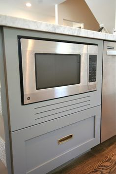 Wooden built in microwave frame. My cabinet guys built one like this and it looks fabulous without the bulk of a metal vent! Cheaper too. {design dump: how to fake a built-in microwave. Hidden Microwave, Kitchen Upgrades, Microwave In Island, Built In Cabinets, Built In Microwave Cabinet, Kitchen Remodel, Range Hood, Beautiful Kitchens, Microwave In Pantry