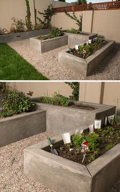 10 Excellent Examples Of Built-In Concrete Planters // Custom smooth concrete vegetable boxes have been designed at varying heights to add interest to this garden.
