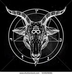 681aa84429800 Pentagram with demon Baphomet. Satanic goat head. Binary satanic symbol.  Vector illustration isolated. Tattoo design, retro, music, summer, print  symbol for ...