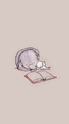 Reading a book - animal wallpaper Cute Disney Wallpaper, Kawaii Wallpaper, Cartoon Wallpaper, Elephant Wallpaper, Animal Wallpaper, Tier Wallpaper, Iphone Wallpaper, Animal Drawings, Cute Drawings