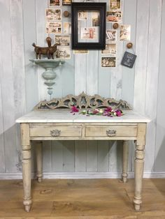 This pine wash stand has been lovingly restored and painted in layers of Annie Sloan Chalk Paint: Coco, Paris Grey, and Country Grey, and finished with clear and dark waxes to protect and age.