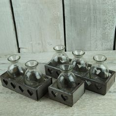 Single stem bottles in attractive wooden tray. http://www.thesatchvillegiftcompany.co.uk/products/new-for-spring-2016/new-spring-homeware