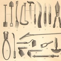 Ordinaire 1905 Gardening Tools Antique Engraving To By CabinetOfTreasures, $16.95