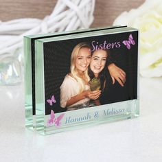 Gorgeous bridesmaid gift idea - Block Photo Frame | Personalised Butterfly Glass Photo Block | Vivabop