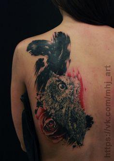 #tattoo #realism #realistic #art #cover #coverup #owl #rose #trashpolka