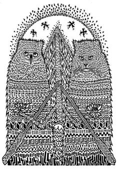 owl & cat illustration with pattern