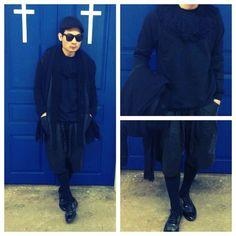 Mad wardrobe  Hat: no brand |coat: costume national | sunglasses: kusbi | scarf : loveless | leather shorts: joiwonkji | sweater: Andrea crews