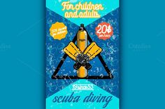 Color vintage diving poster. Travel Icons. $5.00