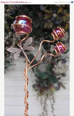 ON SALE Dragonfly Garden Wand  Metal Stake  by DragonflyDreams1, $18.74