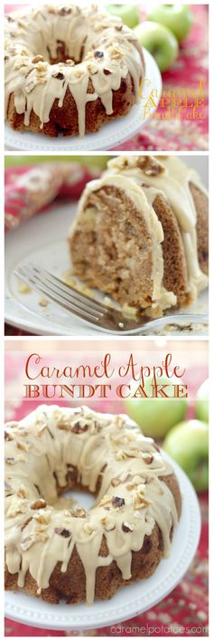 Caramel Apple Bundt Cake on www.cookingwithruthie.com is beautiful and delicious!