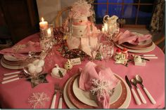 pink snow table setting. cute for winter baby shower