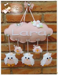 """baby's name """"cloud"""" w/owls (in choice of color) dangling in felt Owl Crafts, Baby Crafts, Diy And Crafts, Felt Owls, Felt Animals, Felt Banner, Felt Mobile, Felt Baby, Felt Decorations"""