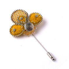 Fresh Spring Zipper Brooch, Felt Flower with Aluminum, Zipper Pin with Button, Handmade Jewelry