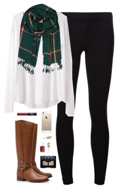 """sleepy & cold"" by classically-preppy ❤ liked on Polyvore featuring James Perse, Organic by John Patrick, Humble Chic, Tory Burch, NARS Cosmetics, Essie and J.Crew"