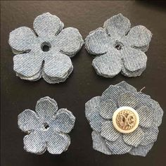 "This is for 15 pcs of Denim Jean Fabric Hibiscus Flower Cuts. Perfect for embellishing any crafting project. Photo shows one already pieced together. You will receive 5 of 3 sizes totaling 15 pcs. Smallest is 1.75"" and largest is 2.5"".   Please keep in mind this is fabric and denim so colors may slightly vary. Also some fraying on edges which makes it pop on your project! If you want more fray on them use a metal brush on edges.  *Bundle & Combine on Shipping*  To bundle please ..."