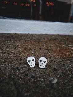 Sterling Silver Sugar Skull Stud Earrings by TheMakeryKy on Etsy