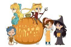 Halloween and sailor moon! My two favorite things combined! Sailor Moon Art, Sailor Jupiter, Sailor Mars, Sailor Moon Halloween, Anime Halloween, Happy Halloween, Halloween Costumes, Dragon Ball, Saylor Moon
