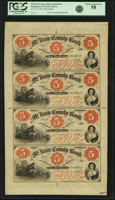 Smethport, PA - McKean County Bank Uncut Sheet of $5-$5-$5-$5 185_ PA-G6a-G6a-Ga-Ga, Hoober 378-3-3-3-3. Remainder. PCGS Choice About New 58. This is an available remainder note, but scarcer as an uncut sheet of four. In handsome 1850s style by Bald, Cousland & Co. with three orange counters on each. All four show a large wharf scene with men unloading lumber at lower left and a woman holding a dove at lower right. This sheet has broad margins and sharp color.
