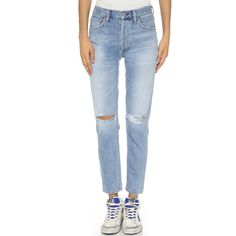 Citizens of Humanity Liya High Rise Classic Fit Jeans ($260) ❤ liked on Polyvore featuring jeans, torn, straight leg jeans, destroyed jeans, high waisted jeans, destructed jeans and high-waisted jeans