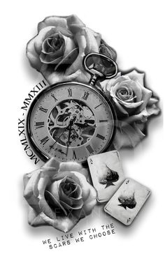this tattoo is a example of a sleeve tattoo design for both men and womans to give inspiration. the design is simple and nice with 3 roses and a big pocketwatch in the middle and 2 cards. the quote and the date in roman numbers is just example, you can Card Tattoo Designs, Clock Tattoo Design, Tattoo Sleeve Designs, Tattoo Designs For Women, Sleeve Tattoos, Clock Tattoo Sleeve, Clock And Rose Tattoo, Compass And Map Tattoo, Compass Rose