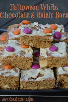 Halloween White Chocolate & Raisin Cake Biscuit Bars - So light and tasty. Perfect for After-school snacks for the hungry masses and even better for autumn walks - whether you are trick or treating or not!