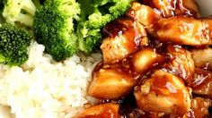 Quick Teriyaki Chicken Rice Bowls recipe - better than takeout and made with just a few ingredients, this Asian chicken dinner idea is on our weekly rotation! Sweet