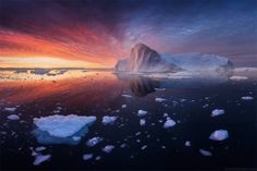 """One of the flaming sunrises at Disko bay. My Greenland yachting expedition in august 2015.  I've announced october Canada and february Lofoten workshops.  You are welcome to join <a href=""""http://danielkordan.com/workshops"""">my photography workshops in 2016</a>!"""