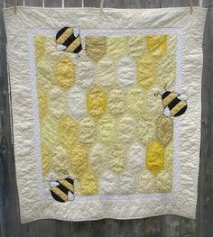 Bumble Bee Baby Quilt by hafenwood on Etsy