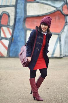 Asos Burgundy Beanie, Asos Duffle Coat, Carven Red Dress With White Collar, Vintage Burgundy Boots, Hibou Burgundy Bag Outfit Ideas, Casual Summer Outfits, Winter Outfits, Burgundy Boots, Red Burgundy, Boho Sommer Outfits, W Clothing, Boating Outfit
