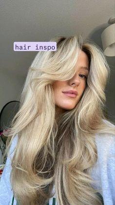 Long Haircuts With Bangs, Long Hair With Bangs, Long Hair Cuts, Haircuts Straight Hair, Long Layered Haircuts, Blonde Hair Looks, Blonde Hair Bangs, Healthy Blonde Hair, Baby Blonde Hair