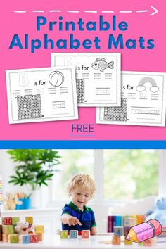 These free, printable alphabet mats are a fun way for your children to practice their letters. Printable Activities For Kids, Alphabet Activities, Preschool Activities, Printable Alphabet, Free Printable, Alphabet Letters, Teacher Lesson Plans, Free Lesson Plans, Letter Recognition Games