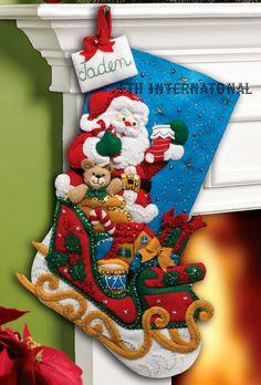 Bucilla Santa & His Sleigh 18 Felt Christmas por FTHInternational