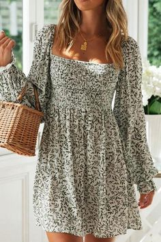 Midi Casual Dresses for Women White Maxi Dresses, Cute Dresses, Long Sleeve Summer Dresses, Spring Dresses With Sleeves, Party Dresses, Boho Summer Dresses, Moda Boho, Bohemian Mode, Batik Dress