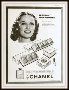 1943 No5 by Chanel advertisement. Vintage by vintageadsnprints  Beautiful vintage beauty ad featuring Chanel No5 perfume. Classic black and white and with beautiful woman featured. Original full page vintage 1943 No5 by Chanel advertisement. Vintage Chanel ad. Vintage perfume ad. Vintage fragrance ad.