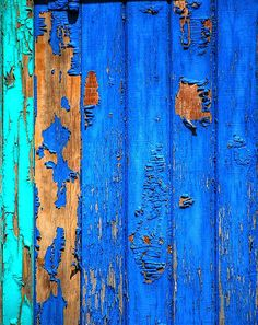 Layers Of Blue Paint On Wood