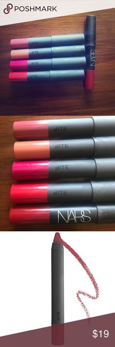Bite High Pigment Pencils + NARS Matte Lip Pencil Bite Beauty High Pigment Pencils + NARS Velvet Matte Lip Pencil. Includes four bite beauty 0.05oz matte lip pencils in colors Rhubarb, Sable (the only one I ever used,) Winterberry, and Pomegranate. Also including one .0.06 oz NARS VELVET matte lip pencil in Cruella. All colors were swatched when first received and not used after except for Bite Beauty Sable Pencil. These are all travel size. Like new! Bite Beauty Makeup Lipstick