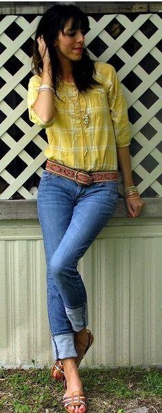 Look // Camisa Xadrez Amarela // Calça Jeans // Rasteirinha // Acessórios