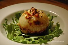 stuffed onion with blue cheese and bacon.  Looks yammy!